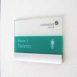 transparent Direction signs wall-mounted | Cartelli segnaletici per ambienti | Meng Informationstechnik