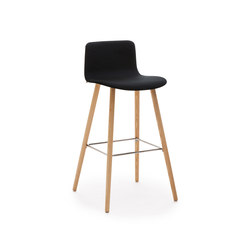 Sola barstool wooden base upholstered low backrest | Sgabelli bar | Martela