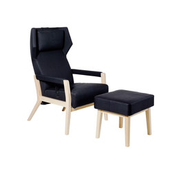 Select Wood Sessel mit Fusshocker | Loungesessel mit Fusshocker | Swedese