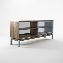 Color BeBop SEE-THROUGH SIDEBOARD w/ 2 SLIDING DOORS - 4 COMPARTMENTS | Credenze | Karpenter
