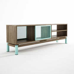 Color BeBop SEE-THROUGH MEDIA CABINET w/ 2 DOORS - 4 COMPARTMENTS | Multimedia sideboards | Karpenter