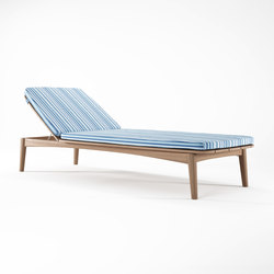 Grasshopper SUNBED WITH CUSHION SUNBRELLA YACHT STRIPE BLACK | Méridiennes de jardin | Karpenter