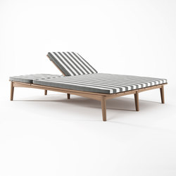 Grasshopper DOUBLE SUNBED WITH CUSHION SUNBRELLA TUSCAN STRIPE | Sun loungers | Karpenter
