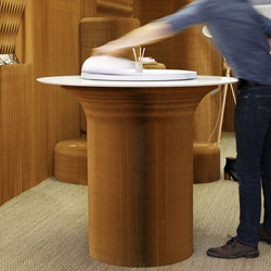 cantilever standing table circular top | natural kraft paper | Tavoli alti | molo