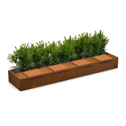 Solid Long Green Benches | Jardineras | Streetlife