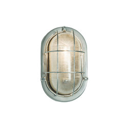 7003 Oval Aluminium Bulkhead, with Guard for GLS, Painted Silver | General lighting | Davey Lighting Limited