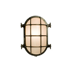 7034 Oval Brass Bulkhead with Internal Fixing, Weathered Brass | Iluminación general | Davey Lighting Limited