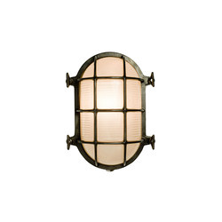 7035 Oval Brass Bulkhead with Internal Fixing, Weathered Brass | General lighting | Davey Lighting Limited