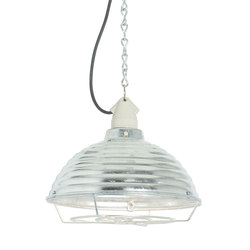 7170 Spun Ripple with Suspension Lampholder, Galvanised with Guard | General lighting | Davey Lighting Limited