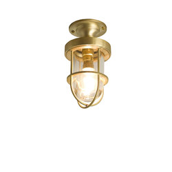 7204 Miniature Ship's Well Glass Ceiling Light, Polished Brass, Clear Glass | General lighting | Davey Lighting Limited