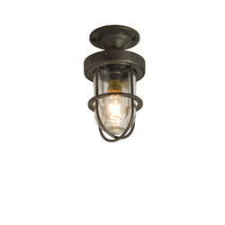 7204 Miniature Ship's Well Glass Ceiling Light, Weathered Brass, Clear Glass | Iluminación general | Original BTC