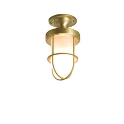 7204 Miniature Ship's Well Glass Ceiling Light, Polished Brass, Frosted Glass | Éclairage général | Davey Lighting Limited
