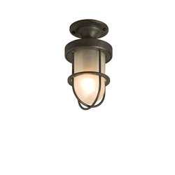 7204 Miniature Ship's Well Glass Ceiling Light, Weather Brass, Frosted Glass | Illuminazione generale | Davey Lighting Limited
