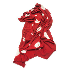 Cashmere - Wool Throw Carmine | White | Mantas | Suzusan