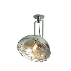 7238 Steel Working Wall Light With Protective Guard, Galvanised | Allgemeinbeleuchtung | Davey Lighting Limited