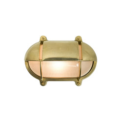 7434 Oval Brass Bulkhead With Eyelid Shield, Large, Natural Brass | General lighting | Original BTC