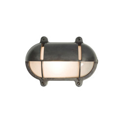 7434 Oval Brass Bulkhead With Eyelid Shield, Large, Weathered Brass | Illuminazione generale | Davey Lighting Limited