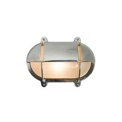 7434 Oval Brass Bulkhead With Eyelid Shield, Large, Chrome Plated | General lighting | Davey Lighting Limited