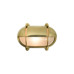 7435 Oval Brass Bulkhead With Eyelid Shield, Medium, Natural Brass | General lighting | Davey Lighting Limited