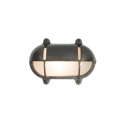 7435 Oval Brass Bulkhead With Eyelid Shield, Medium, Weathered Brass | Éclairage général | Davey Lighting Limited