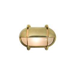 7436 Oval Brass Bulkhead With Eyelid Shield, Small, Natural Brass | Iluminación general | Original BTC