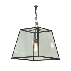 7636 Quad Pendant, Internal Glass, Large, Weathered Brass, Clear Glass | Illuminazione generale | Davey Lighting Limited