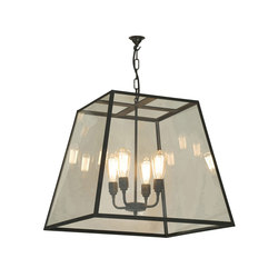 7636 Quad Pendant, XL and 4 Lamp Holders, Weathered Brass, Clear Glass | General lighting | Davey Lighting Limited