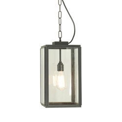 7638 Small Square Pendant, Closed Top, Weathered Brass, Clear Glass | General lighting | Davey Lighting Limited
