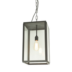 7638 Square Pendant, External Glass, Closed Top, Weathered Brass, Clear Glass | Allgemeinbeleuchtung | Davey Lighting Limited