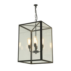 7639 Square Pendant, External Glass, XL & 4 L/holders, Weathered Brass | Éclairage général | Davey Lighting Limited