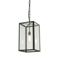 7639 Small Square Pendant, External Glass, Weathered Brass, Clear Glass | Iluminación general | Davey Lighting Limited