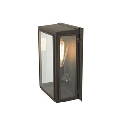 7641 Box Wall Light, External Glass, Small, Weathered Brass, Clear Glass | General lighting | Davey Lighting Limited