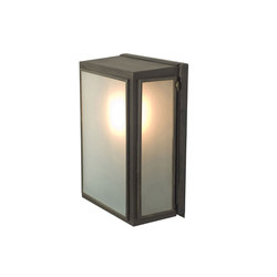 7641 Box Wall Light, External Glass, Small, Weathered Brass, Frosted Glass | Allgemeinbeleuchtung | Davey Lighting Limited