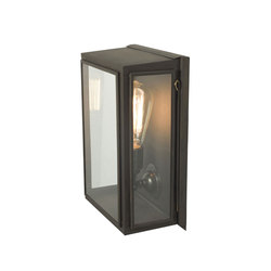 7642 Box Wall Light, External Glass, Medium, Weathered Brass, Clear Glass | Iluminación general | Davey Lighting Limited