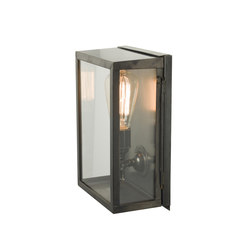 7644 Box Wall Light, Internal Glass, Small, Weathered Brass, Clear Glass | Éclairage général | Davey Lighting Limited