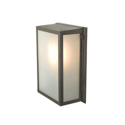 7644 Box Wall Light, Internal Glass, Small, Weathered Brass, Frosted Glass | General lighting | Davey Lighting Limited