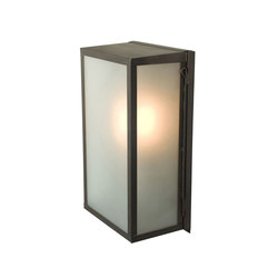 7645 Box Wall Light, Internal Glass, Medium, Weathered Brass, Frosted Glass | Allgemeinbeleuchtung | Davey Lighting Limited