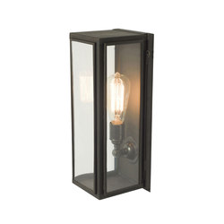 7649 Narrow Box Wall Light, Ext Glass, Weathered Brass, Clear Glass | Iluminación general | Davey Lighting Limited