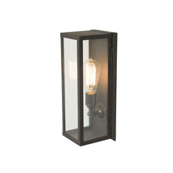 7650 Narrow Box Wall Light, Internal Glass, Weathered Brass, Clear Glass | Éclairage général | Davey Lighting Limited