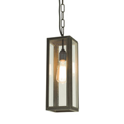 7649 Narrow Box Pendant, External Glass, Weathered Brass, Clear Glass | General lighting | Davey Lighting Limited