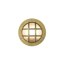 8038 Miniature Exterior Bulkhead, Cross Guard, G9, Brass | Allgemeinbeleuchtung | Davey Lighting Limited