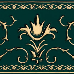 Grand Elegance Gold narciso A oro su verde | Azulejos de pared | Petracer's Ceramics