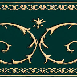 Grand Elegance Gold narciso B oro su verde | Azulejos de pared | Petracer's Ceramics