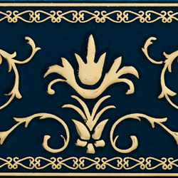 Grand Elegance Gold narciso A oro su blu | Azulejos de pared | Petracer's Ceramics