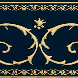 Grand Elegance Gold narciso B oro su blu | Azulejos de pared | Petracer's Ceramics