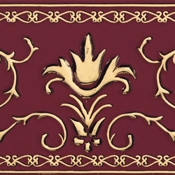 Grand Elegance Gold narciso A oro su bordeaux | Azulejos de pared | Petracer's Ceramics