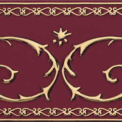 Grand Elegance Gold narciso B oro su bordeaux | Wall tiles | Petracer's Ceramics