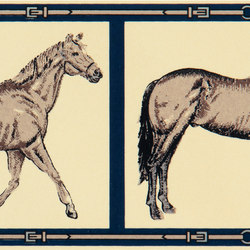 Grand Elegance country life horses B green | Ceramic tiles | Petracer's Ceramics
