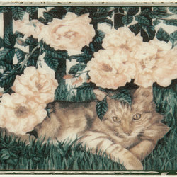 Grand Elegance country life cats su panna B | Ceramic tiles | Petracer's Ceramics