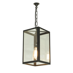 7639 Square Pendant, External Glass, Weathered Brass, Clear Glass | Iluminación general | Original BTC